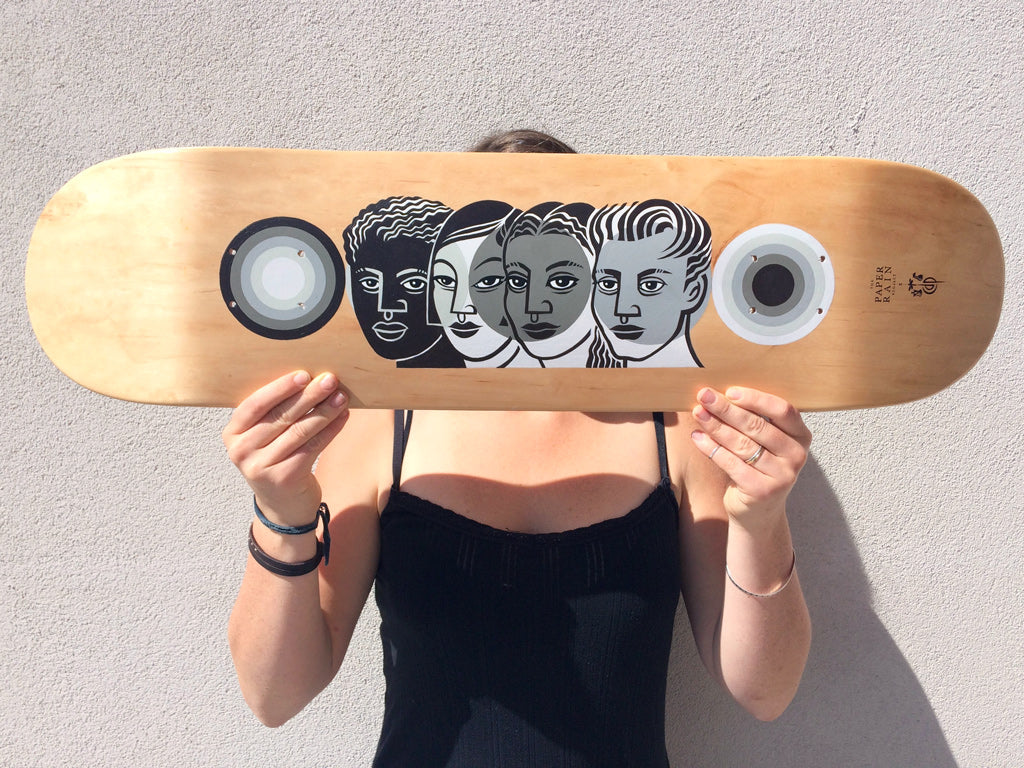 'Tahitaki (Move as One)' hand-painted by CDP Illustrations acrylic on maple skateboard.