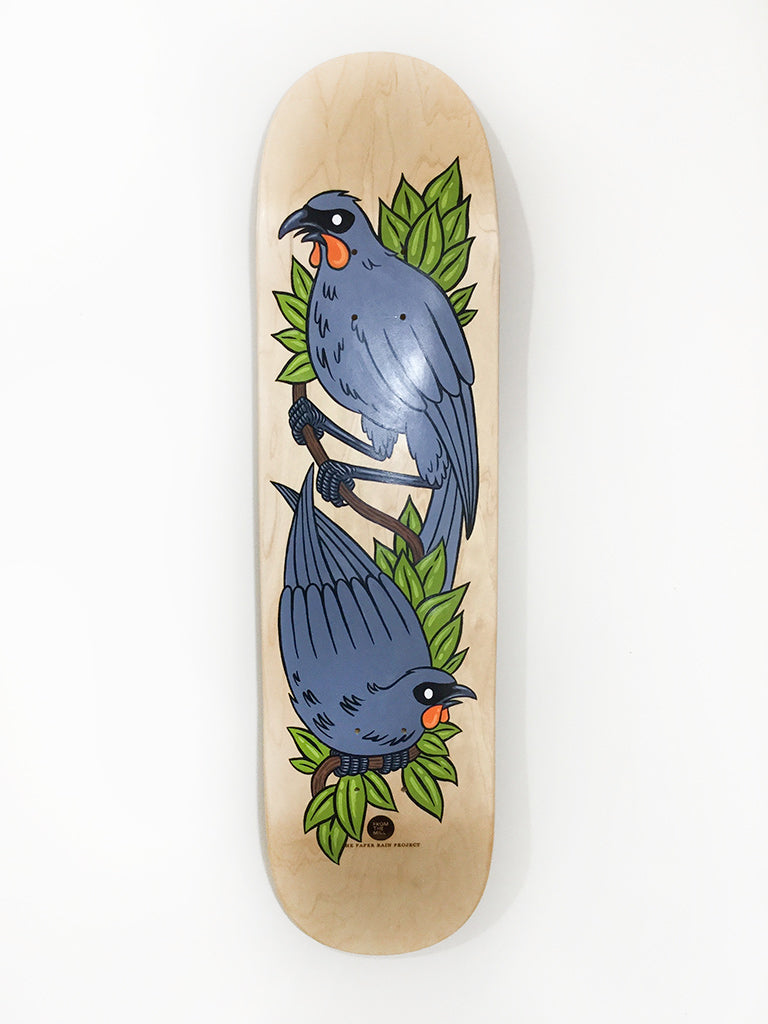 Elusive Kokako hand painted skateboard by From The Mill