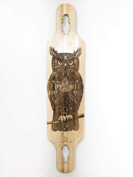 'Zentangle' Owl on bamboo maple longboard in collaboration with Tobias Illustrations