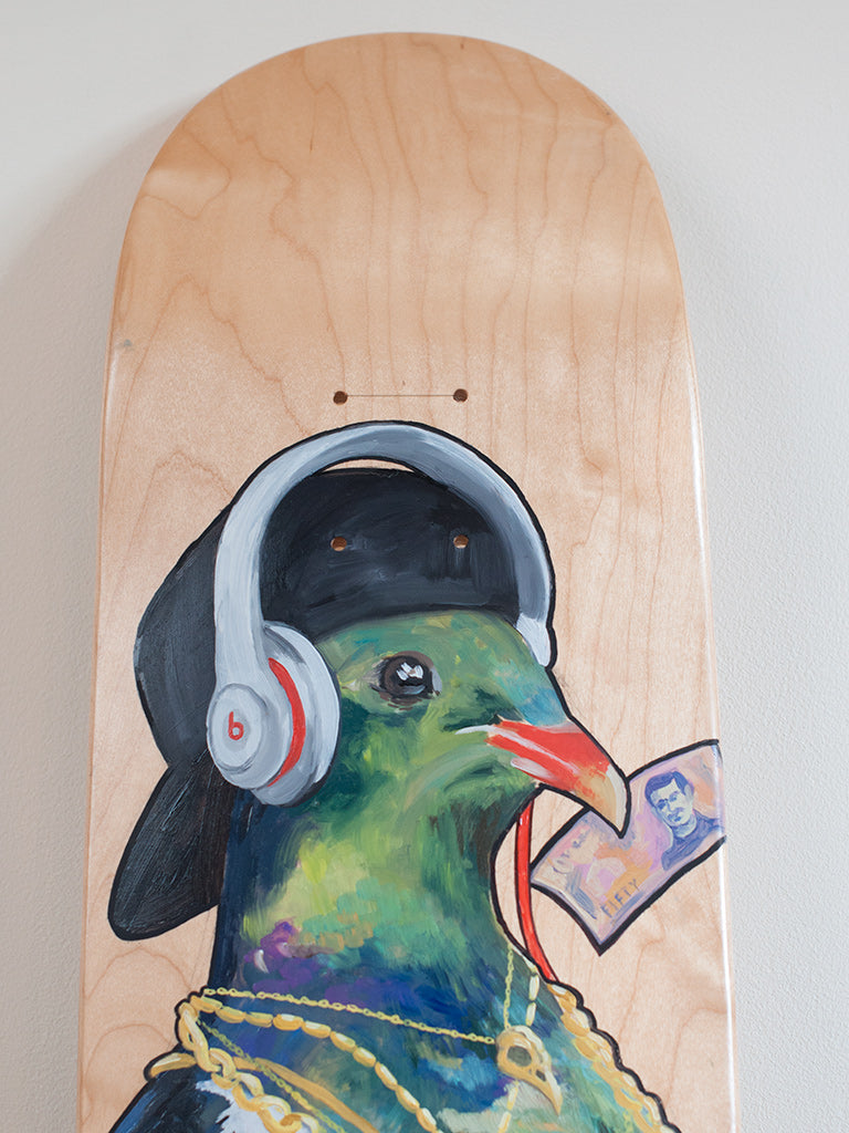 Special K hand painted skateboard in collaboration with Monique Richards