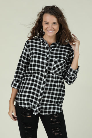 Stay Cool- Black and White Plaid Button Down