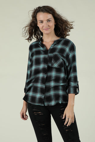 End Up Together- Mint And Black Flannel
