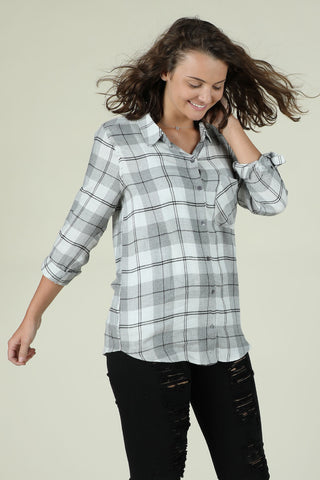 Need You- Grey Button Down Flannel
