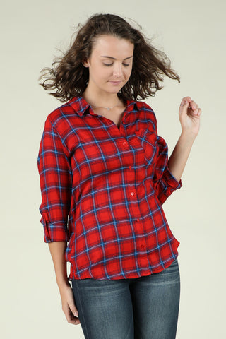 Kiss Me- Red Button Down Flannel