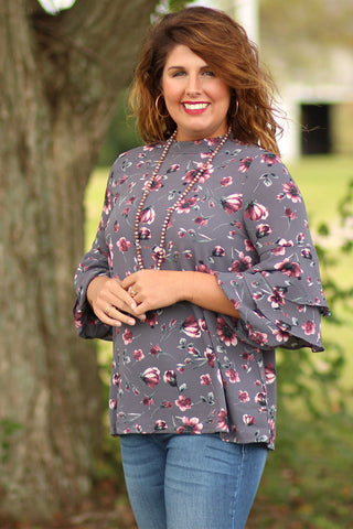 A Moment - Ruffle Sleeved Floral Dress - Ty Alexander's