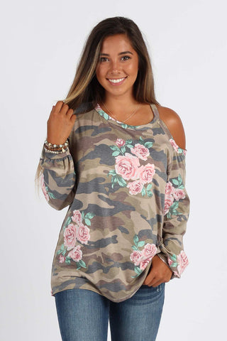 Ty Alexander's Fancy - Camo and Floral One Shoulder Top