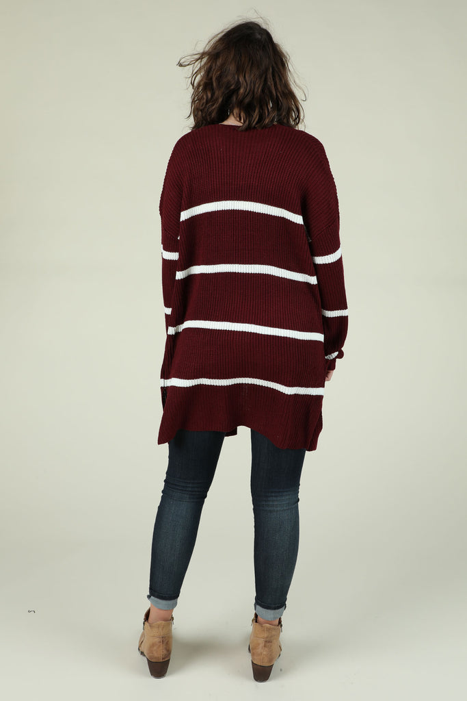 Name In Lights- Stripe Long Cardigan