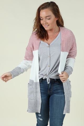 Marshmallow- Color Block Cardigan- Ty Alexander's