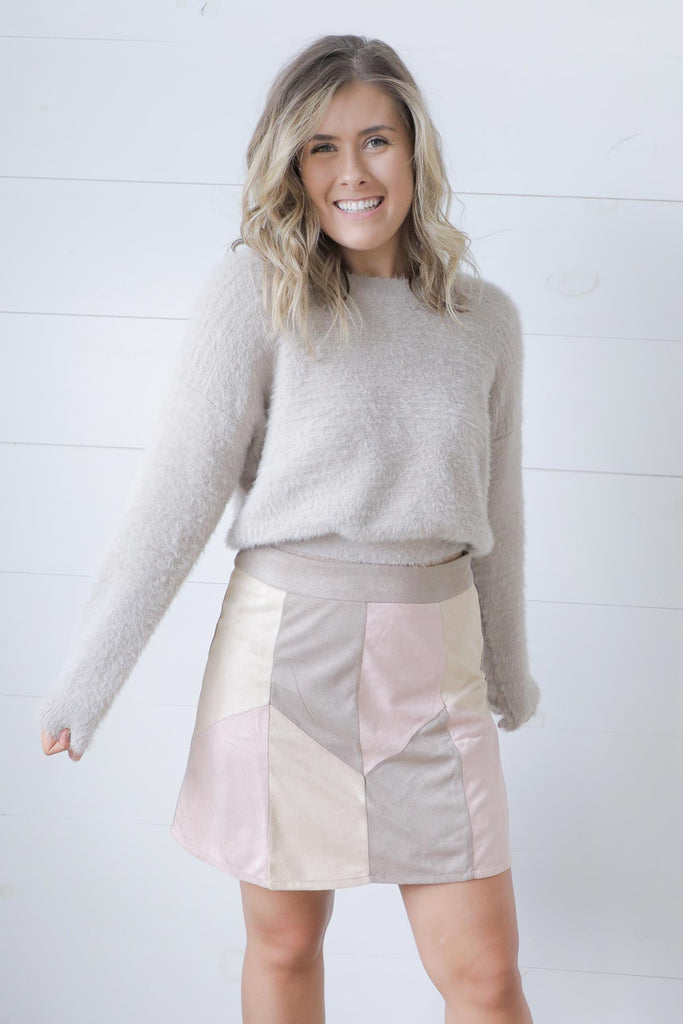 Back Because Of You Blush Mocha Skirt - Ty Alexander's