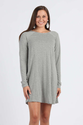 Simple Beauty - Crew Neck Long Sleeved Dress
