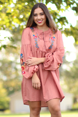 On The Prize - Puff Sleeve Dress With Embroidery And Tassle - Ty Alexander's