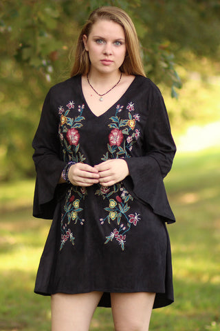 Faux Suede Dress With Embroidery - Ty Alexander's