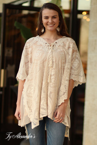 Lace Tunic With Tassel Neck Tie - Ty Alexander's