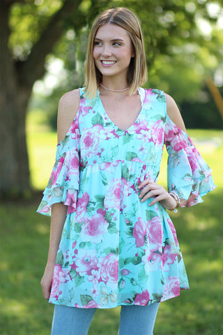 Walk On By - Floral Cold Shoulder BabyDoll Top- Ty Alexander's