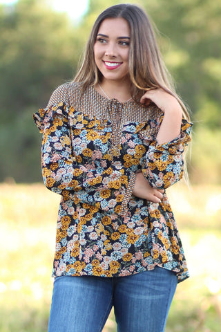 Overcome - Pattern Contrasted Floral Blouse - Ty Alexander's