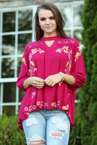 All In All - 3/4 Sleeve Floral Top- Ty Alexander's