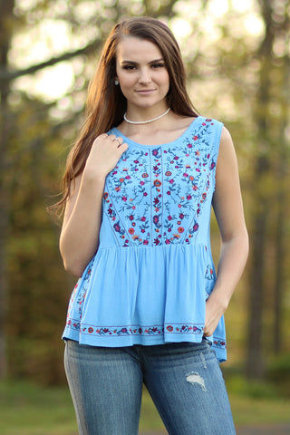 Ty Alexander's - Tank with Floral Embroidery blue