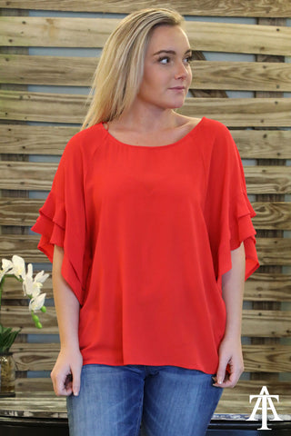 Layered Ruffle Sleeve And Round Neck Top - Ty Alexander's