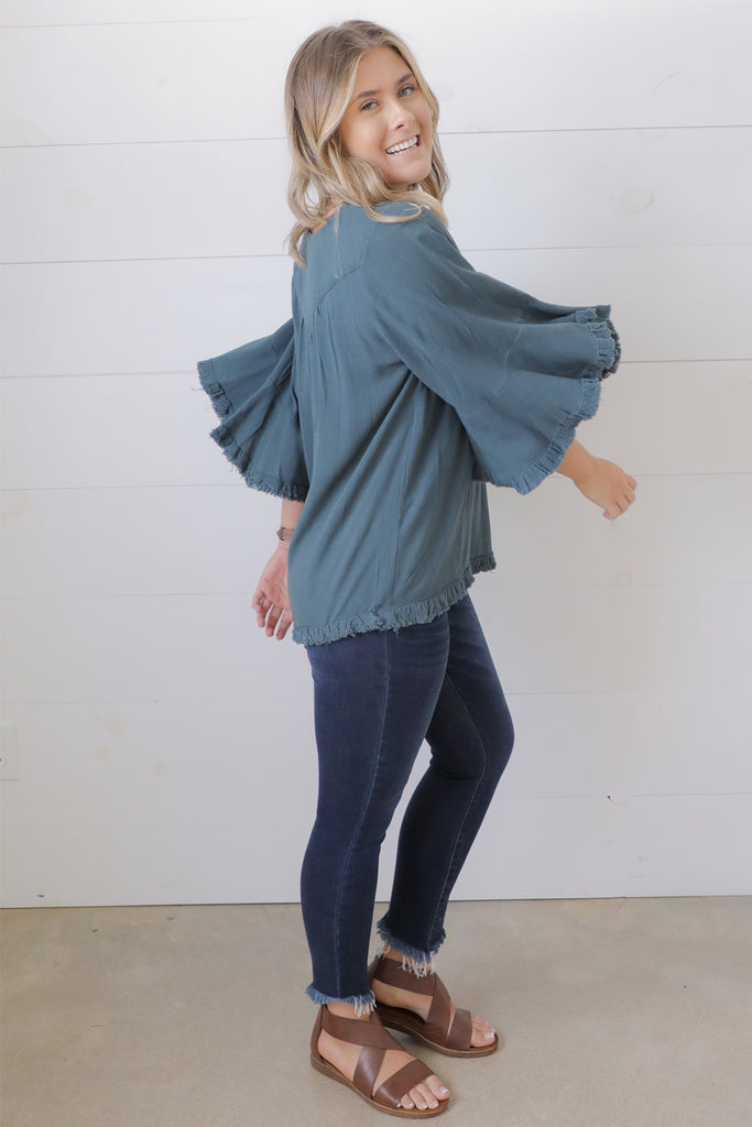 Charmed By You Linen Bell Sleeved Top - Umgee Collection