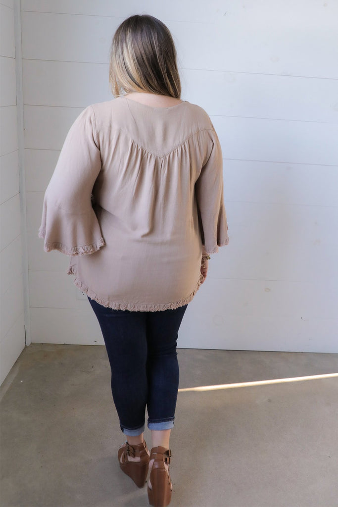 Charmed By You Linen Bell Sleeved Top - Umgee Plus Collection