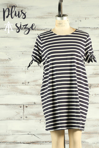 Striped Lace Up Dress - Ty Alexander's