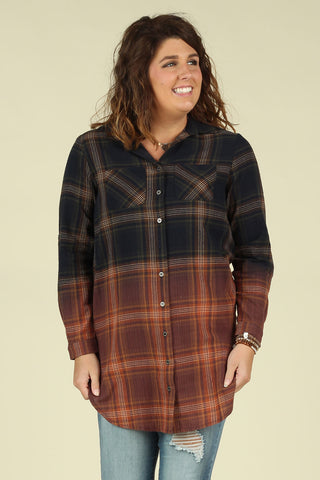 Dip Dyed Plaid Top - Ty Alexander's