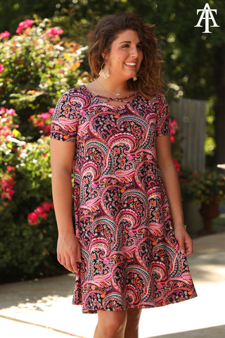 Paisley Criss Cross Neck Dress - Ty Alexander's