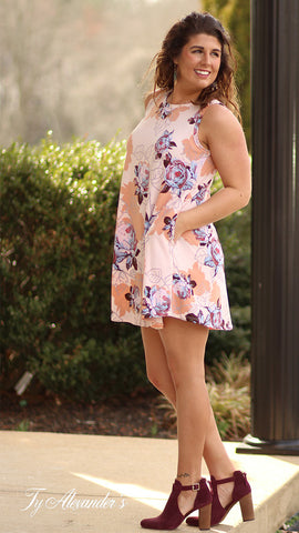 Just Peachy - Floral Dress With Back Cutout - Ty Alexander's