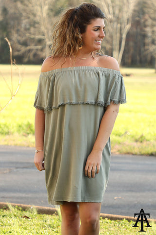 Mineral Wash Off The Shoulder Dress - Ty Alexander's