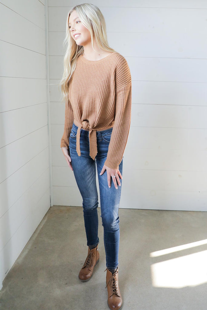 Changing Seasons Front Tie Sweater
