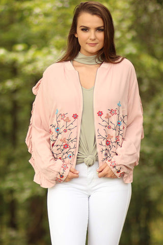 Floral Embroidered Jacket With Ruffle Detailing - Ty Alexander's