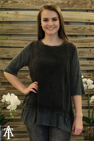 3/4 Bell Sleeve Washed Top with Ribbed Sleeves and Hem - Ty Alexander's