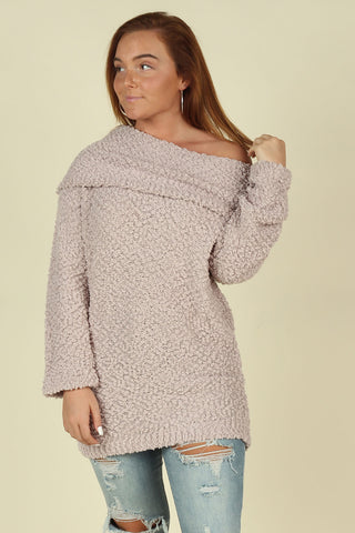 Off Shoulder Popcorn Sweater - Ty Alexander's