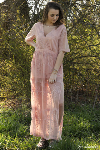 Sheer Lace Maxi Dress - Ty Alexander's