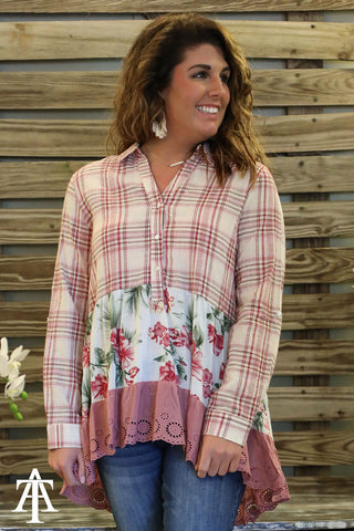 Plaid Top With Contrast Floral And Lace - Ty Alexander's