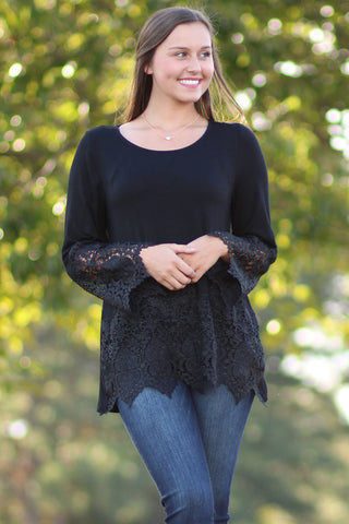 Lace And Love  - Solid Top With Lace Trim Sleeves - Ty Alexander's