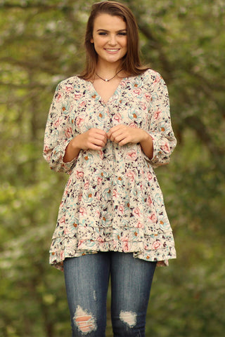 Floral PrintButton Up Tunic - Ty Alexander's