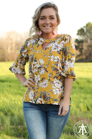 Keyhole Floral Top With Bell Sleeves - Ty Alexander's