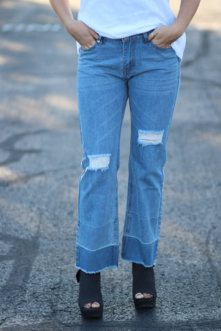 100% - Wide Leg Cropped Denim Jeans
