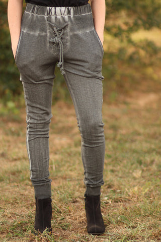 Thrill Of The Lace-Lace Up Front Jogger Pants