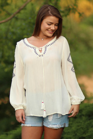 Just Breathe - Embroidered Top With Tassel- Ty Alexander's