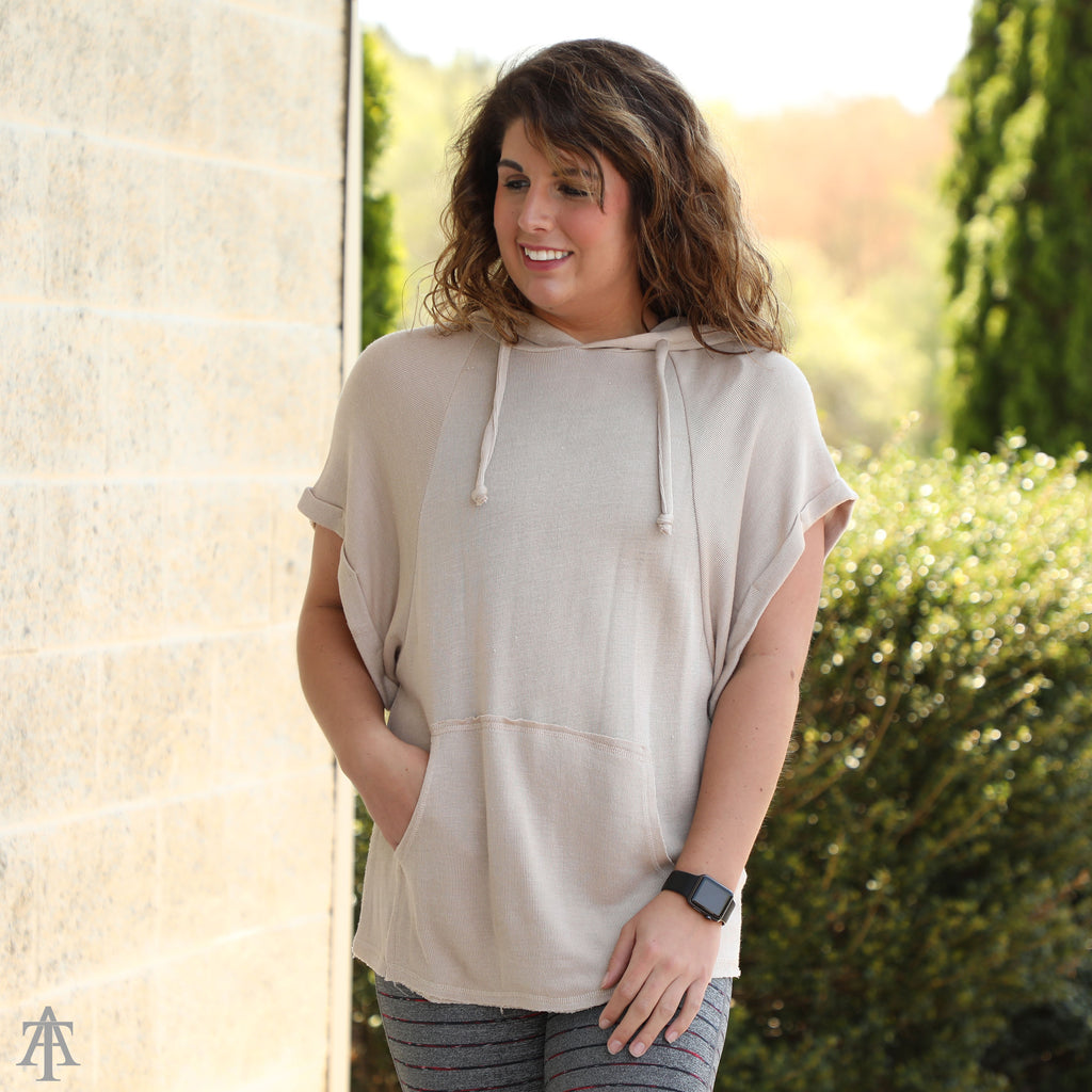 Roll Up Sleeve Casual Tunic Top Hoodie - Ty Alexander's
