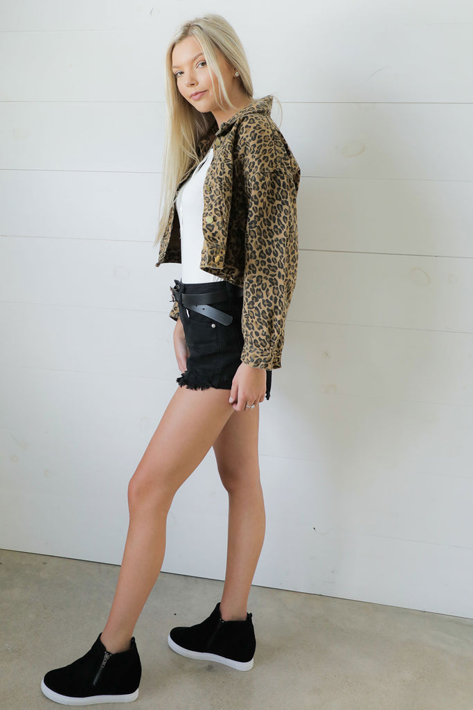 Falling For Trends Leopard Cropped Jacket
