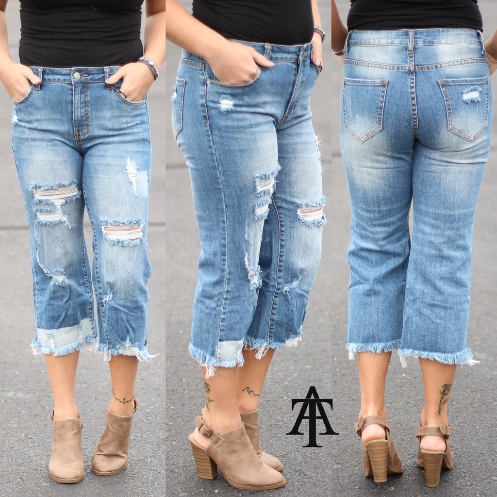 Ty Alexander's - Distressed Straight Cropped Jeans