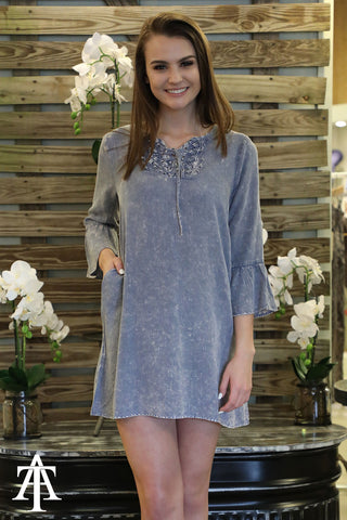 Washed Bell Sleeve Dress With neck Detailing - Ty Alexander's
