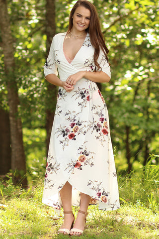 It Is Well - Floral Wrap Maxi Dress- Ty Alexander's