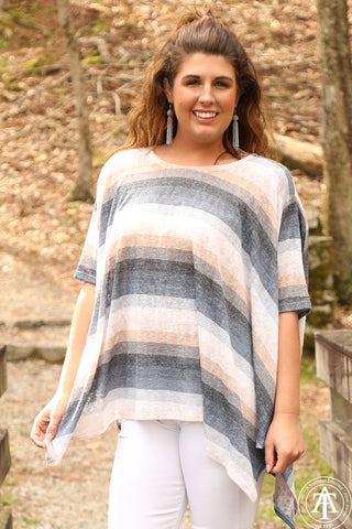 Multi Colored Striped Poncho - Ty Alexander's