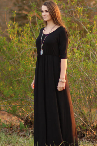 Solid Maxi Dress With Half Sleeves
