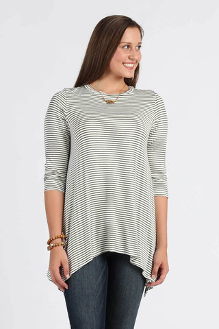 Ty Alexander's What's My Line-Striped Top With 3/4 Sleeves