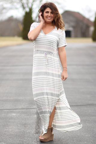 Relaxed - Striped V-Neck Maxi Dress With Waist Tie